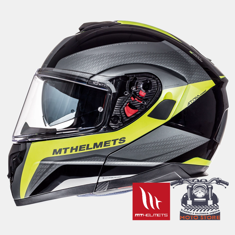 Мотошлем MTHelmets ATOM TARMAC GLOSS & MATT BLACK FLUOR YELLOW